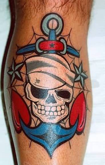 mind blowing blue red color ink anchor tattoo on boy leg for boys made by expert