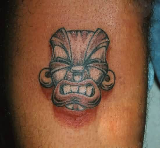 Mind Blowing Red And Gray Color Ink African Mask Tatt For Man