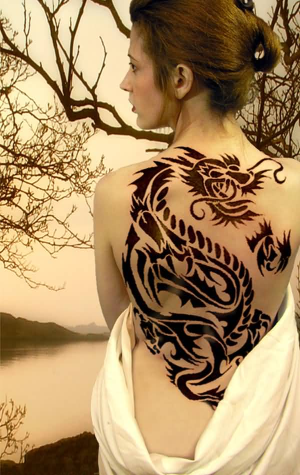 Most Amazing Dragon Tattoos For Women On Full Back On Back With Black Ink For Women