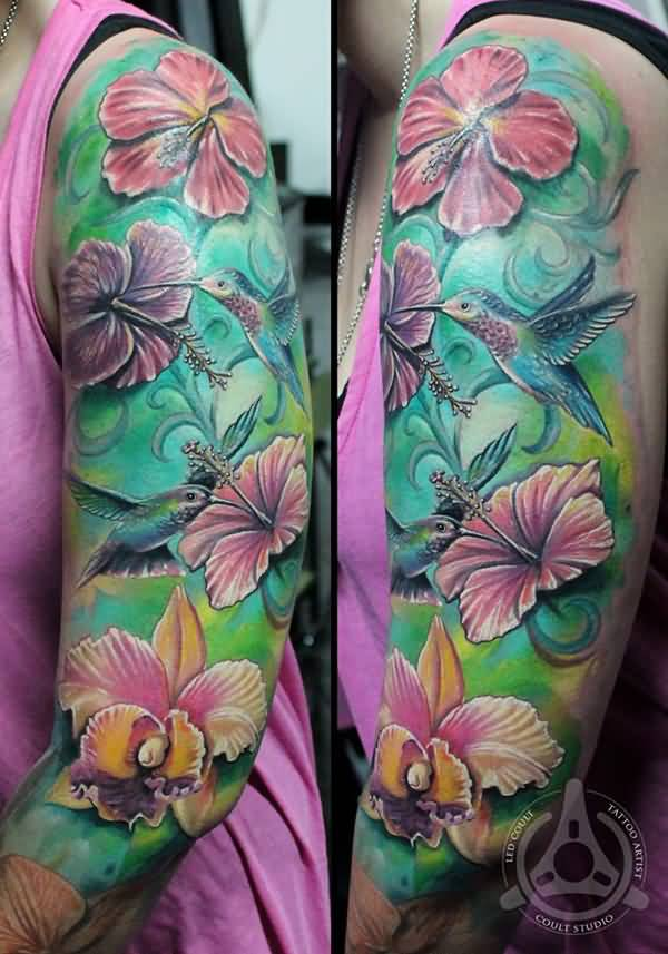 most amazing Hibiscus tattoo on arm With colourful ink For Man And Woman Hibiscus Flower Tattoo