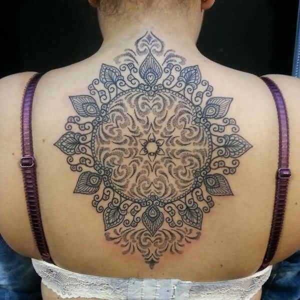 Most Amazing Mandala Back Tattoo With Black Ink For Grils