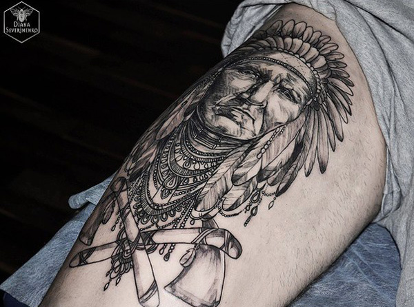 Most Amazing Native American Tattoo On Wrist With Black Ink For Man & Woman