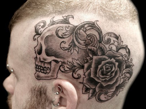 most amazing Rose and skull tattoo on the head With Black ink For Man And Woman Tattoo on Head For Man And Woman