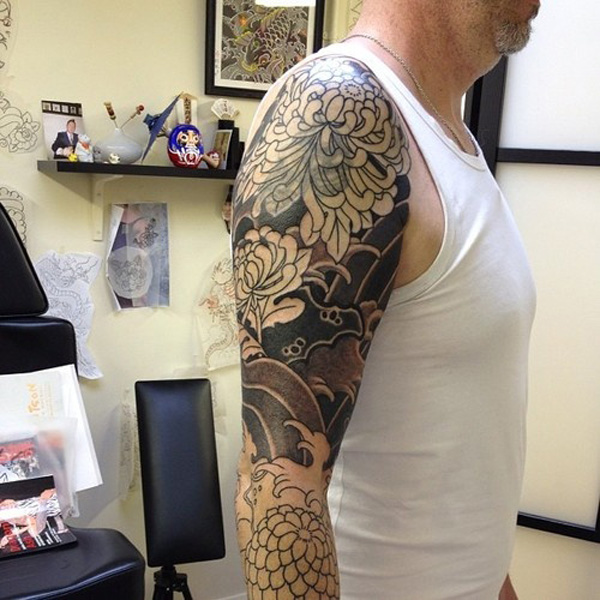 most amazing chrysanthemum tattoo on arm With black ink For Man And Woma