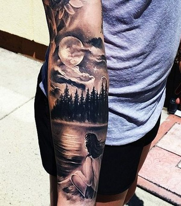 most amazing forest and mountain with girl tattoo on arm With Black ink For Man And Woman