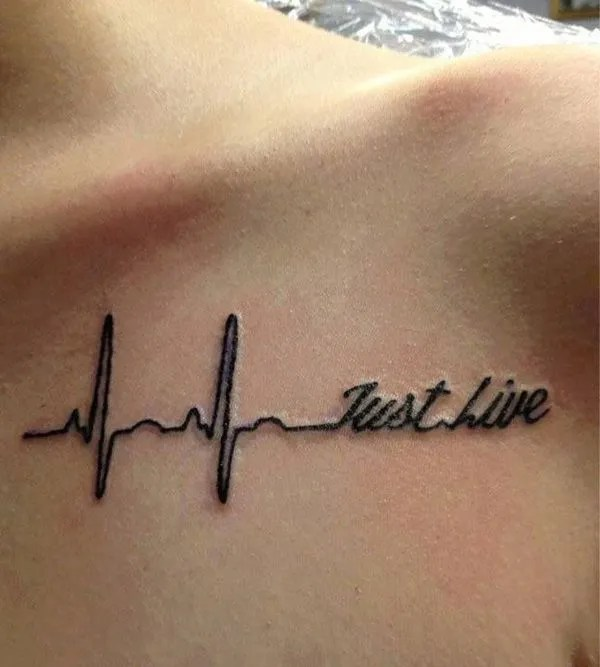Most Amazing Heart Beat Clavicle Tattoo With Blck Ink