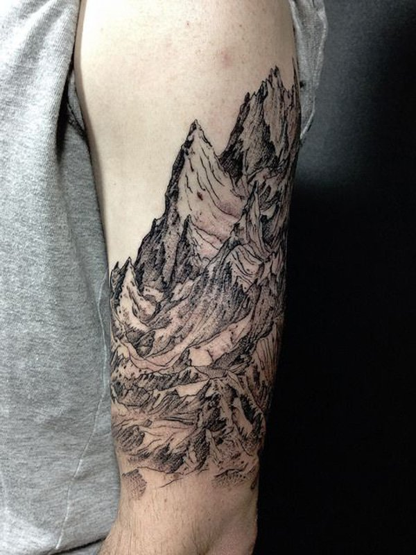 most amazing mountain sleeve tattoo on arm With Black ink For Man And Woman