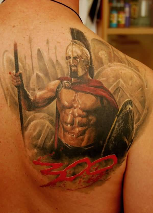 Most Amazing Warrior Tattoo On Back With Black Ink For Women And Man