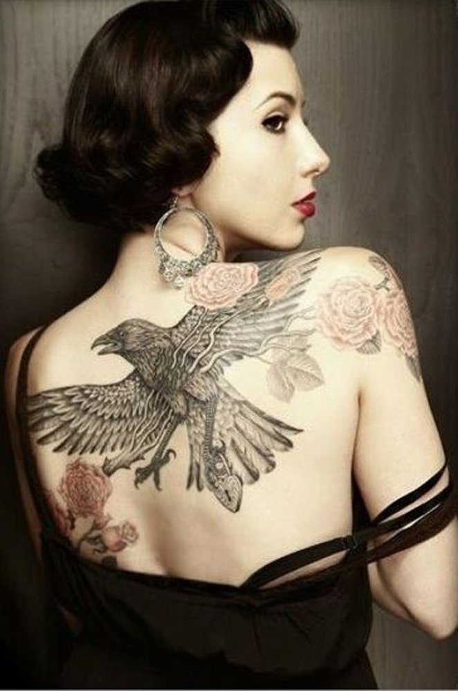 most amzing Raven Tattoo on Back with Black ink For Man And Woman