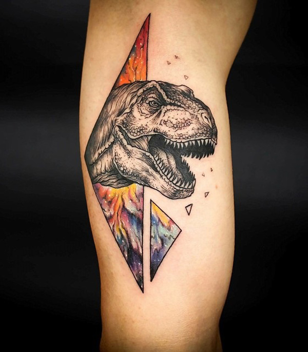 most attracive dinosaur illustration style tattoo on calf With colourful ink For Man And Woma