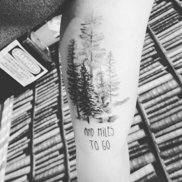 most attractive forest tattoo on arm With Black ink For Man And Woman