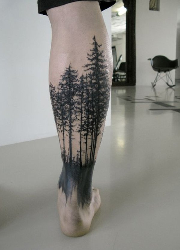 most attractive forest tattoo on calf With Black ink For Man And Woman