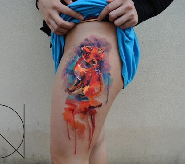 Most Awesome Colorful Fox Tattoo On Leg With Colorful Ink For Man Woman