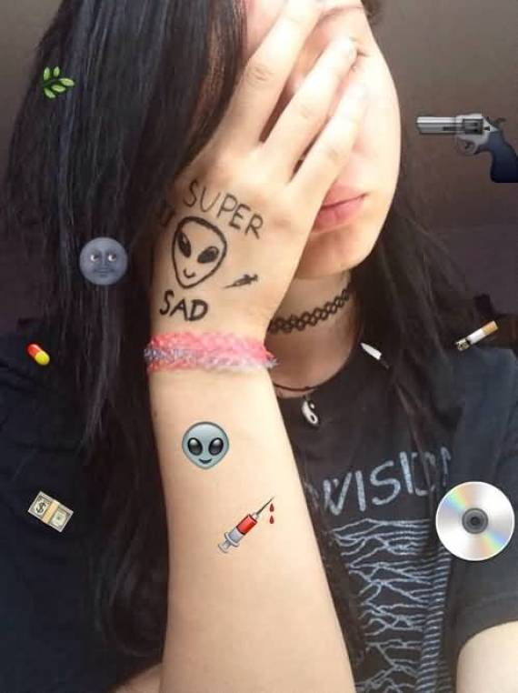 Most Beautiful Alien Head Tattoo On Girl Hand For Cool Girl