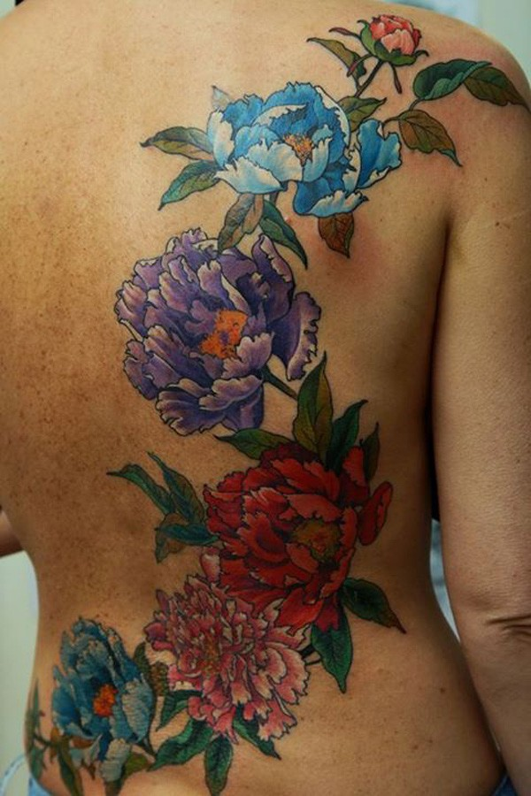 Most Beautiful Colorful Tattoo On Back With Colorful Ink For Man Woman