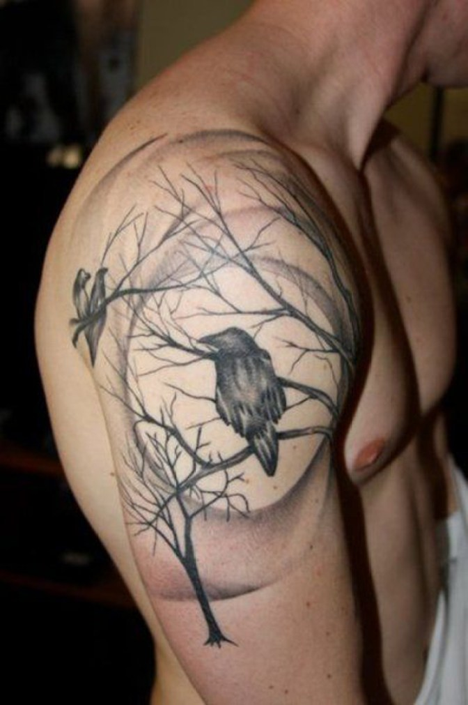most beautiful Raven Quarter Tattoo on shoulder with Black ink For Man And Woman