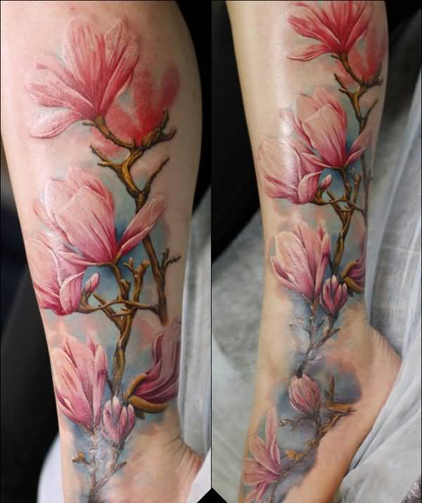 most cute Magnolia color cover up by xandervoron on DeviantArt on leg With colourful ink For Man And Woman