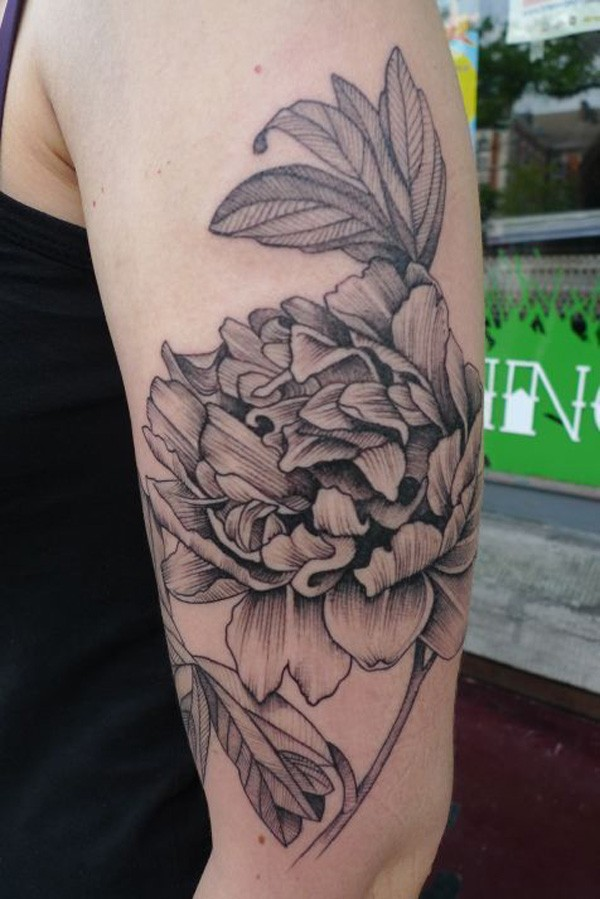 most cute Peony tattoo on arm With black ink For Man And Woman