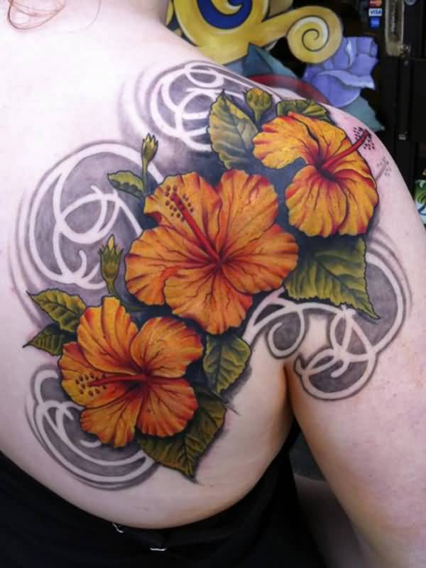 most fantastic Hibiscus tattoo on back With colourful ink For Man And Woman