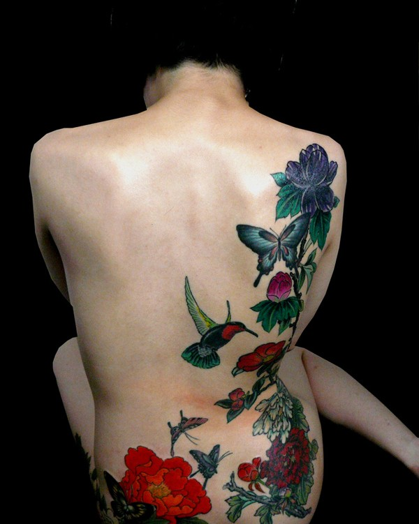 most great Peony tattoo on back With colourful ink For Man And Woman