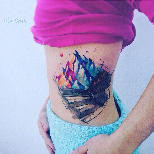 most great mountain tattoo on side With colourful ink For Man And Woman