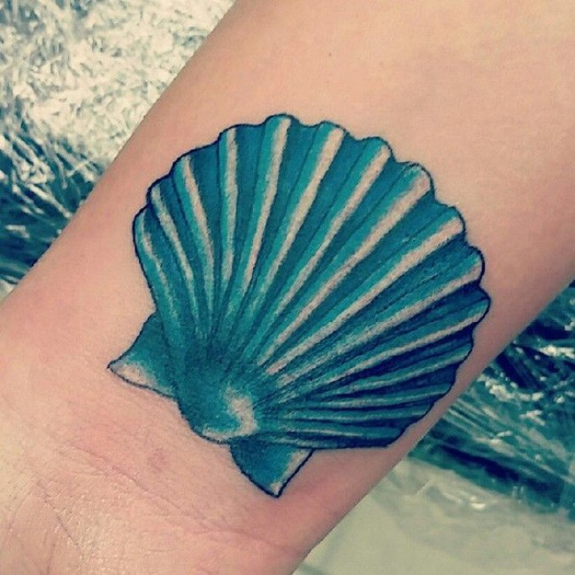 most great shell tattoo on wrist With Colourful ink For Man And Woman