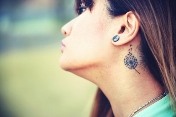 most incredible Dandelion Tattoos on neck With Black ink For Man And Woman