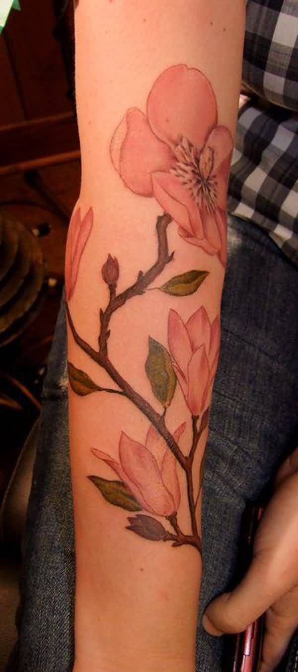 most incredible Magnolia sleeve tattoo. on arm With colourful ink For Man And Woman