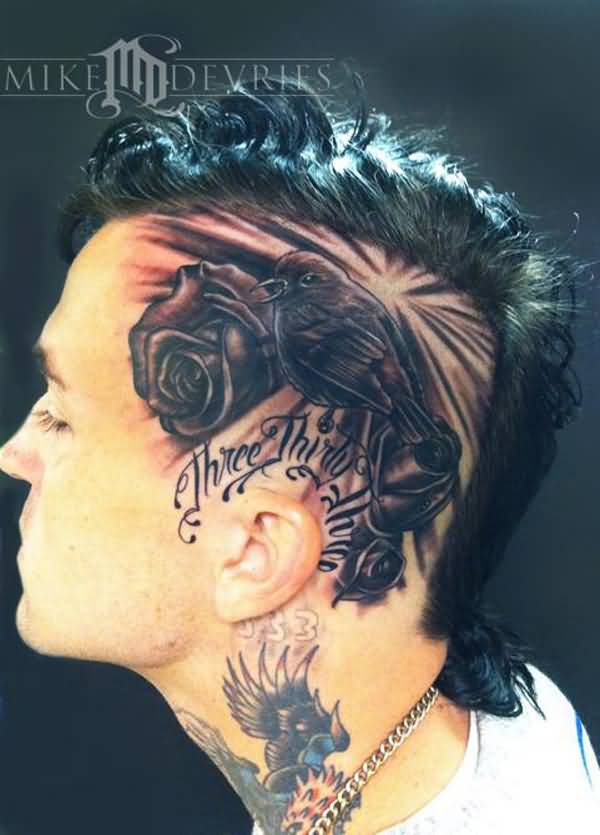 most incredible Yelawolf Slumerican Head Tattoo With Black ink For Man And Woman
