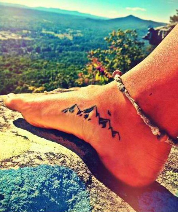 most incredible mountain tattoo on foot With Black ink For Man And Woman