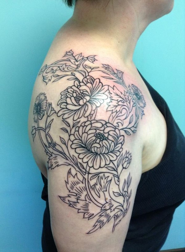most inspirational Peony tattoo on arm With black ink For Man And Woman