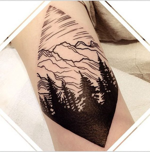 most inspirational forest and mountain tattoo on hand With Black ink For Man And Woman