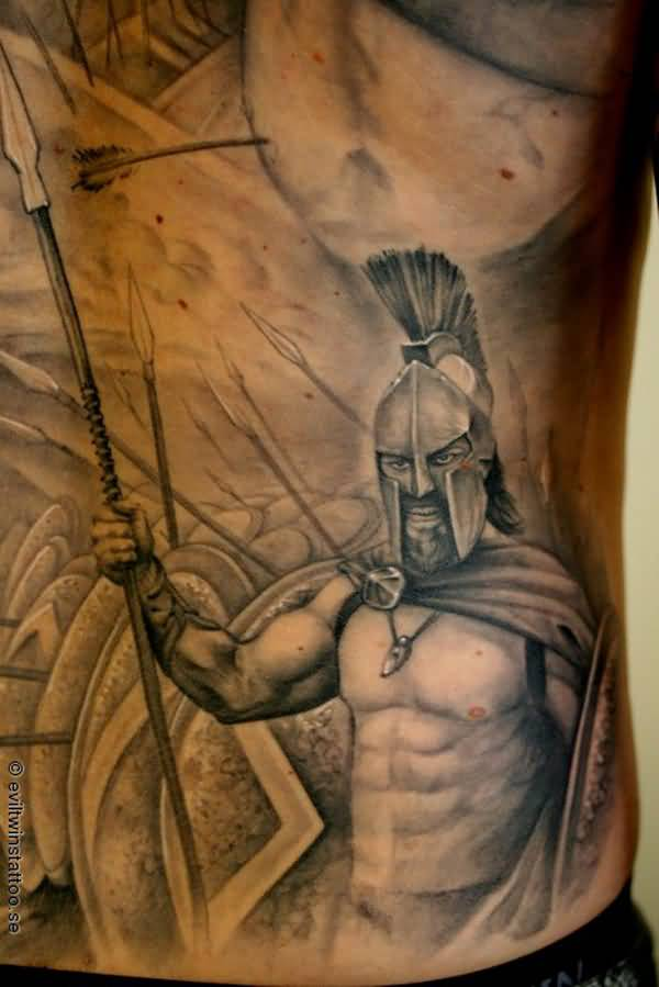 Most Trending Warrior Tattoo On Side With Black Ink For Women And Man