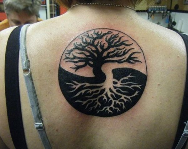 Most Trending Yin Yang Tree Of Life Tattoo With Black Ink For Man Woman