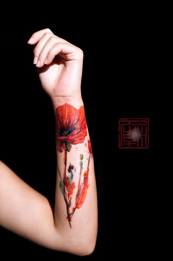 most wonderful Poppies tattoo With colourful ink For Man And Woman
