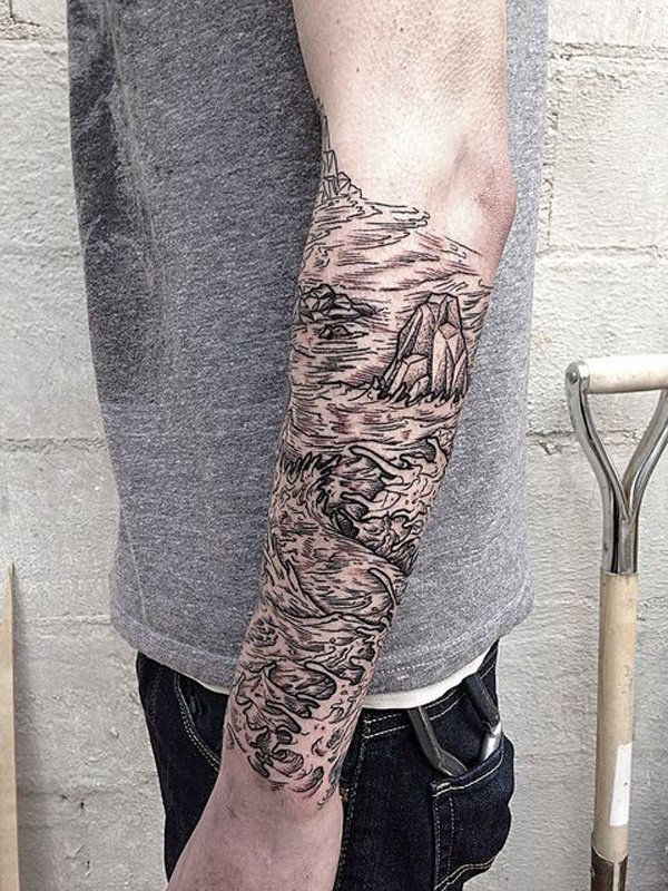 most wonderful mountain tattoo on half sleeve With Black ink For Man And Woman