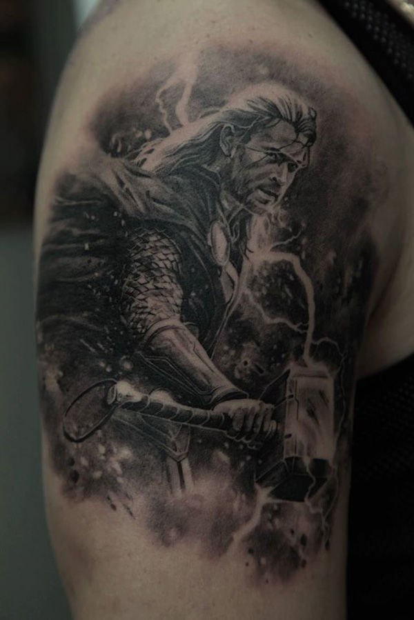 Most Wonderful Warrior Tattoo On Arm With Black Ink For Women And Man