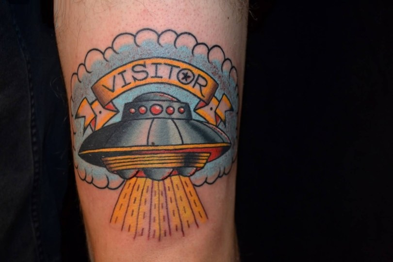 motivational red and yellow color ink Ufo Tattoo On Thigh for boys