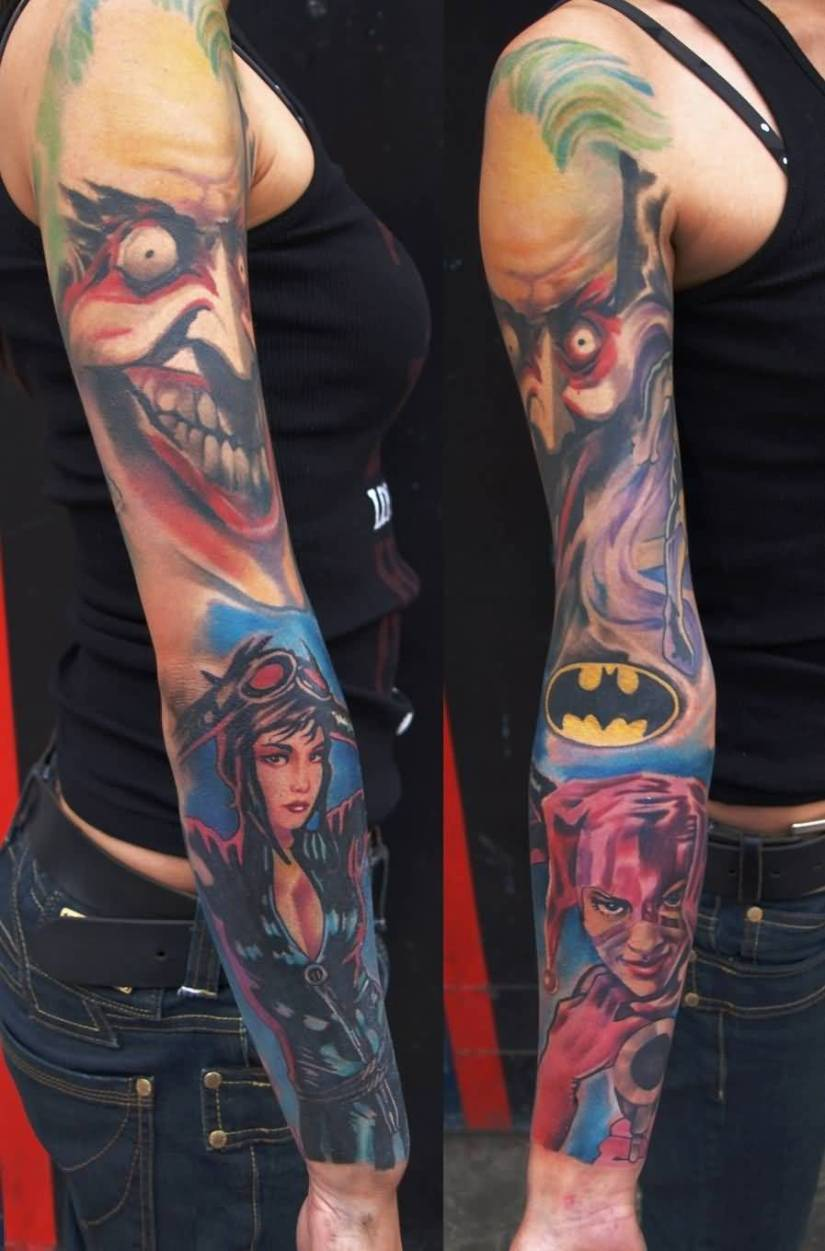 motivational red blue and black color ink sleve animated tattoo on girl's sleeve for girls made by expert artist