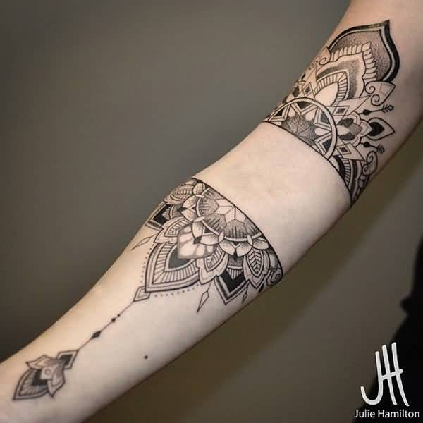 New Mandala Sleeve Tattoo With Black Ink For Man Woman