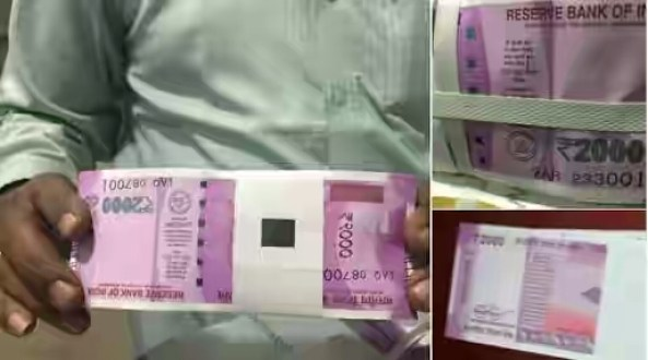 New Note Rs 2000 One Bundle In Man Hands