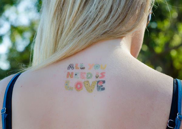 Nice Font Temporary Tattoos On Back For Man Woman