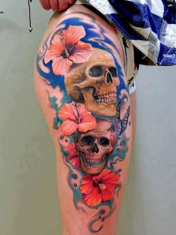 nice Hibiscus tattoo on thigh With colourful ink For Man And Woman