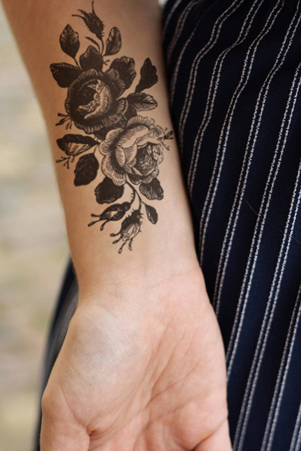 Nice Large Vintage Roses Temporary Tattoo For Man Woman