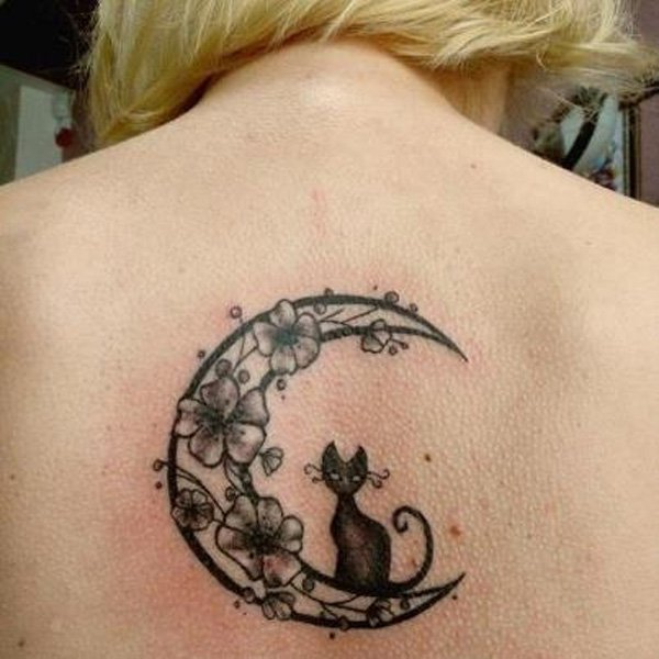 Outstanding Cat And Flower Moon Tattoo On The Back With Black Ink For Man Woman