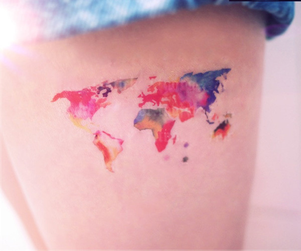 Outstanding Colourful Map Tattoo On Thigh For Man Woman