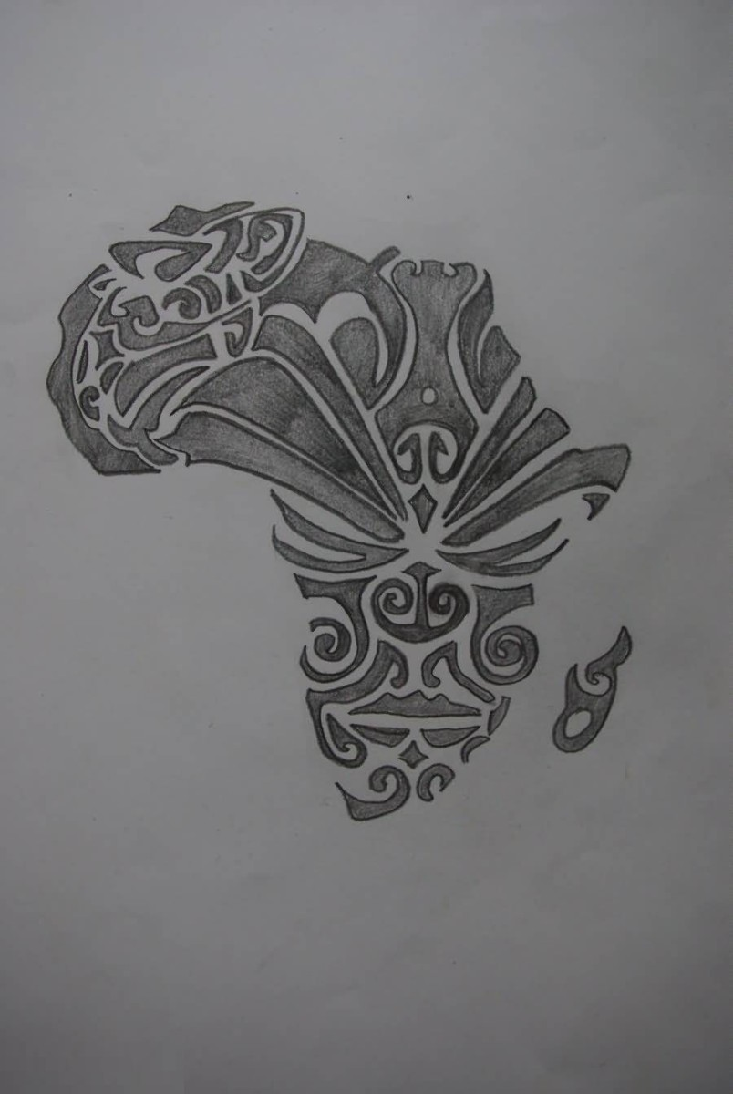 Passionate Black Color Ink African Map And Mask Tattoo Stencil For Man