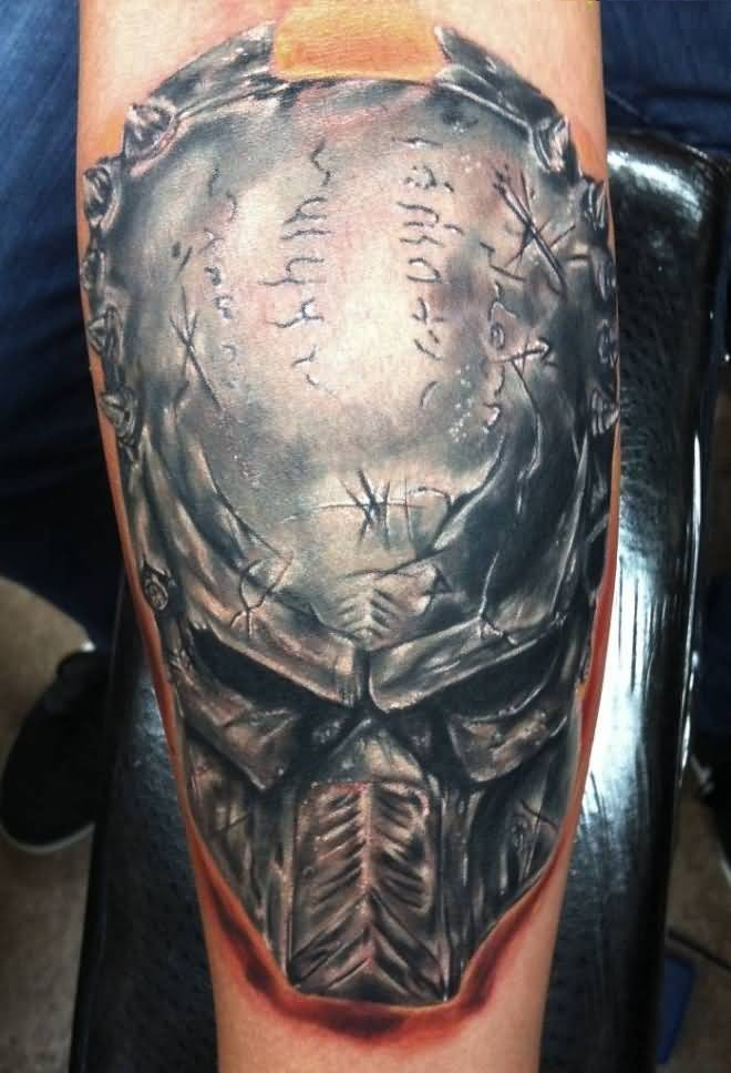 passionate silver color ink Tattoo Of Predator Head Made by expert
