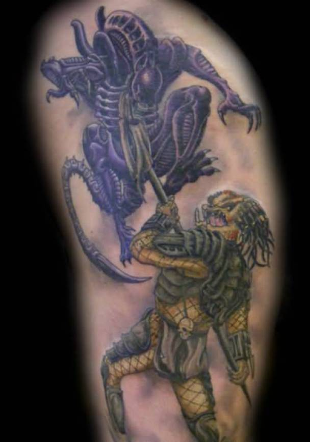 Perfect Blue And Yellow Light Ink Alien Tattoo For Man Photo
