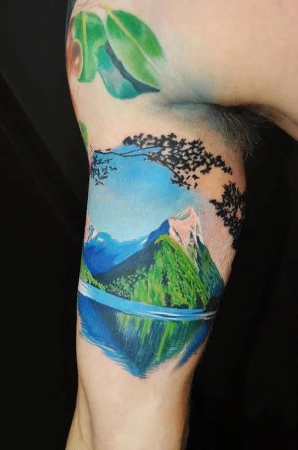 phenomenal mountain tattoo on arm With Black ink For Man And Woman